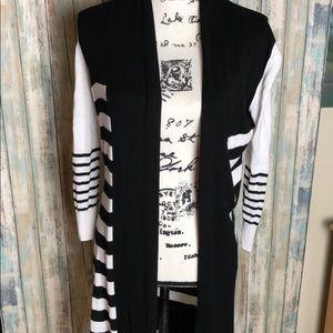 Sweaters - Striped Long Cardigan